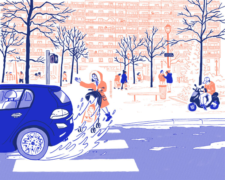 Dessin de la place de l'Esplanade par Ariane Pinel : une femme est fâchées qu'une voiture ne la laisse pas passer et l'éclabousse au passage piéton.